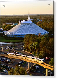 Space Mountain And Monorail Peach Acrylic Print by David Lee Thompson