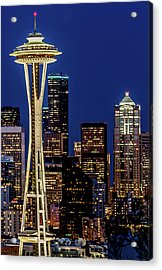 Space Needle And Skyline At Dusk Acrylic Print