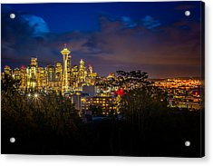 Space Needle In Seattle After Dark Acrylic Print