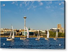 Space Needle Sailboats Acrylic Print by Tom Dowd