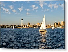 Space Needle Tack Acrylic Print by Tom Dowd