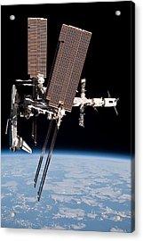 Space Shuttle Endeavor Docked Acrylic Print by Everett