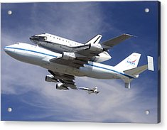 Space Shuttle Endeavour Over Lax With Hornet Chase Plane September 21 2012 Acrylic Print by Brian Lockett