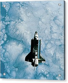 Space Shuttle Orbiting Above Earth Acrylic Print