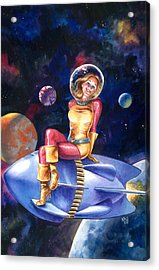 Spacegirl Acrylic Print by Ken Meyer jr
