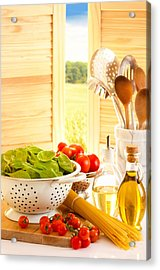 Spaghetti And Tomatoes In Country Kitchen Acrylic Print by Amanda Elwell