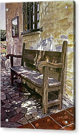 Spanish Bench, Mission Carmel Acrylic Print