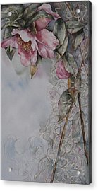 Acrylic Print featuring the painting Spanish Camellias by Mary McCullah