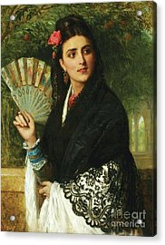 Spanish Lady With Fan Acrylic Print by Pg Reproductions