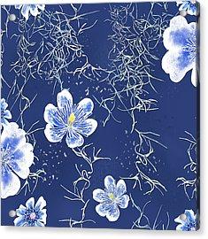 Indigo Batik Tile 4 - Spanish Moss Acrylic Print