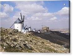 Spanish Windmills And Castle Of Consuegra Acrylic Print