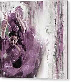 Acrylic Print featuring the painting Spanish Woman Dance  by Gull G