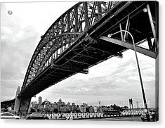 Spanning Sydney Harbour - Black And White Acrylic Print by Kaye Menner