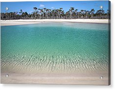 Sparkling Beach Lagoon On Deserted Beach Acrylic Print