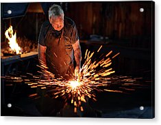 Sparks When Blacksmith Hit Hot Iron Acrylic Print