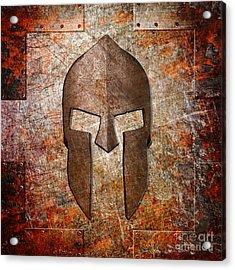 Spartan Helmet On Rusted Riveted Metal Sheet Acrylic Print