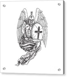 Spartan Warrior Angel Shield Rosary Tattoo Acrylic Print by Aloysius Patrimonio