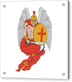 Spartan Warrior Angel Sword Rosary Drawing Acrylic Print by Aloysius Patrimonio