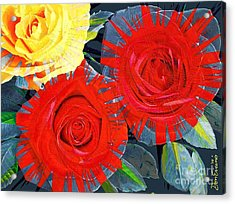 Spattered Colors On Roses Acrylic Print by Don Evans