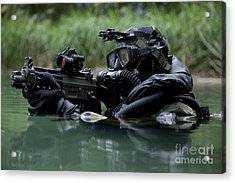 Special Forces Combat Diver Takes Acrylic Print by Tom Weber