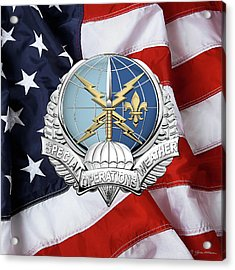 Special Operations Weather Team -  S O W T  Badge Over American Flag Acrylic Print by Serge Averbukh