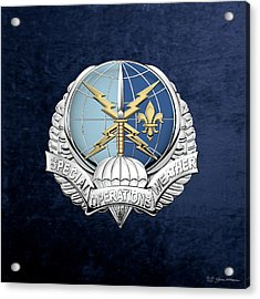Special Operations Weather Team -  S O W T  Badge Over Blue Velvet Acrylic Print by Serge Averbukh