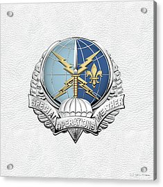 Special Operations Weather Team -  S O W T  Badge Over White Leather Acrylic Print by Serge Averbukh