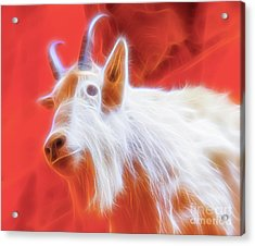 Acrylic Print featuring the digital art Spectral Mountain Goat by Ray Shiu