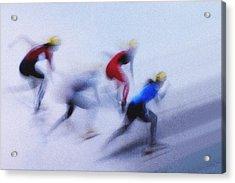 Speed Skating 1 Acrylic Print by Zoran Milutinovic