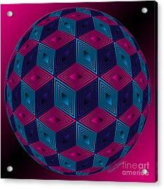 Spherized Pink Purple Blue And Black Hexa Acrylic Print