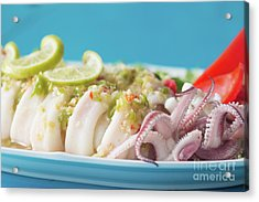 Acrylic Print featuring the photograph Spicy Food, Steamed Squid by Atiketta Sangasaeng