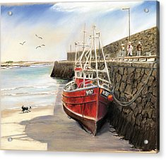 Spiddal Harbour Acrylic Print by Vanda Luddy