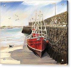 Spiddal Harbour Acrylic Print by Vanda Luddy