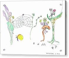 Spider Web And Fairies Acrylic Print