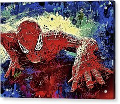 Acrylic Print featuring the mixed media Spiderman Climbing  by Al Matra