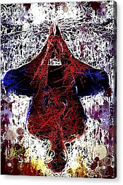 Acrylic Print featuring the mixed media Spiderman Hanging Around by Al Matra