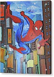 Spiderman Swings Acrylic Print