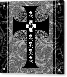 Spiderweb Skull Cross Acrylic Print by Roseanne Jones