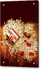 Spilt Tubs Of Popcorn And Movie Tickets Acrylic Print