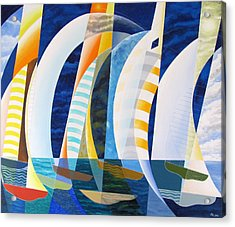 Acrylic Print featuring the painting Spinnakers Up by Douglas Pike