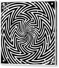 Spinning Optical Illusion Maze Acrylic Print by Yonatan Frimer Maze Artist