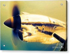 Spinning Propeller Pratt And Whitney Pw118a Turbo-prop In Flight Acrylic Print by Wernher Krutein