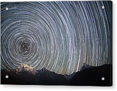 Spinning Stars Above Himalayas Acrylic Print by Anton Jankovoy