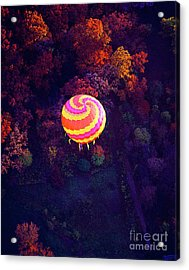 Spiral Colored Hot Air Balloon Over Fall Tree Tops Mchenry   Acrylic Print