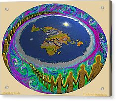 Acrylic Print featuring the painting Spiral Of Souls Flat Earth by Hidden Mountain