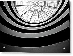 Spiral Staircase And Ceiling Inside The Guggenheim Acrylic Print by Sami Sarkis