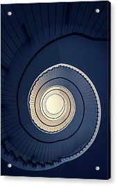 Spiral Staircase In Blue And Cream Tones Acrylic Print by Jaroslaw Blaminsky