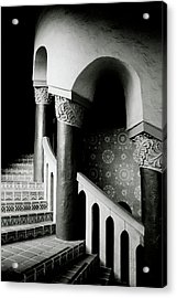 Spiral Stairs- Black And White Photo By Linda Woods Acrylic Print