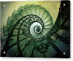 Acrylic Print featuring the photograph Spiral Stairs In Green Tones by Jaroslaw Blaminsky