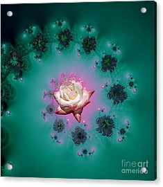 Spiral To A Rose Fractal 140 Acrylic Print by Rose Santuci-Sofranko